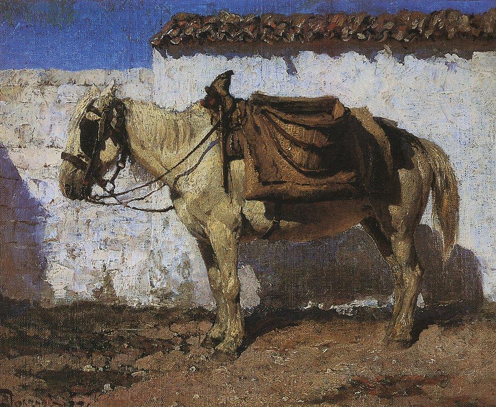 Белая лошадка. Нормандия. Фото, художник Поленов ... Больная Поленов